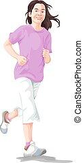 Vector of woman jogging.