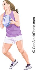 Vector of woman playing rugby football.