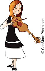 Vector of woman plying violin.