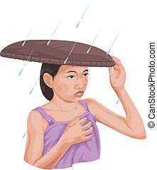 Vector of woman protecting herself from rain.