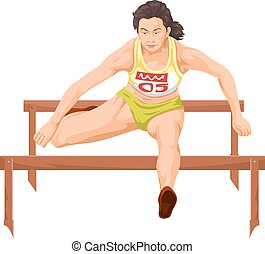 Vector of woman running hurdles.