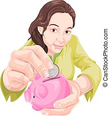 Vector of woman saving in piggy bank.