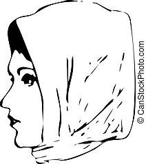 Vector of Woman Wearing Headscarf