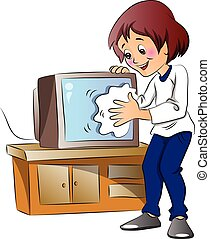 Vector illustration of happy woman wiping dust on television set.