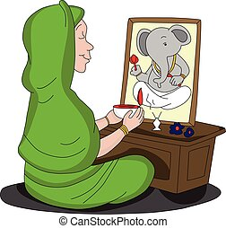 Vector of woman worshipping lord Ganesha.