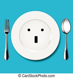Vector of wonder face draw on plate