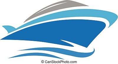 vector of yacht, speed boat logo concept - elegant and...