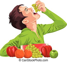 Vector of young boy eating fruit.