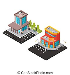 Vector office and mall isometric buildings isolated