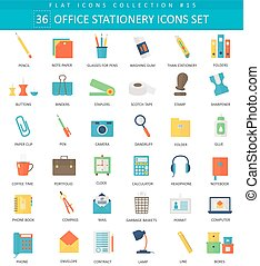 Vector Office stationery color flat icon set. Elegant style design.