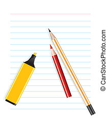 vector office supplies on a blank sheet of paper