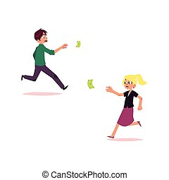vector office worker woman, man running for money