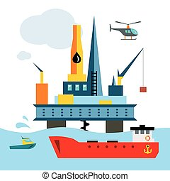 Vector Offshore Drilling Platform. Flat style colorful...
