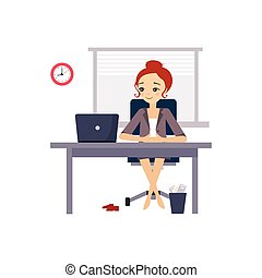 vector, oficina., diario, women., ilustración, actividades, mujer, rutina