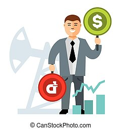 Vector Oil and money rate. Flat style colorful Cartoon...