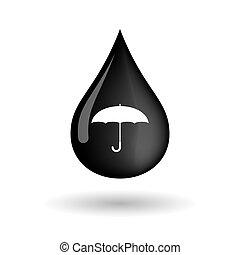 Vector oil drop icon with an umbrella
