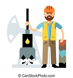 Vector Oil Industry. Flat style colorful Cartoon...