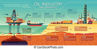 Vector oil industry infographics Offshore platform - Vector...