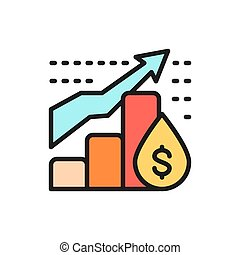 Vector oil price chart flat color line icon.