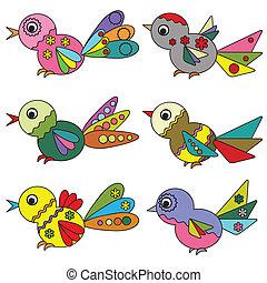 vector., oiseaux, ensemble
