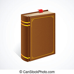 Vector old book with bookmark isolated icon