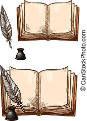 Vector old books and ink quill feather pens