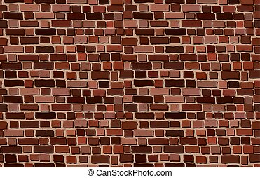 Vector old brick wall background. Seamless pattern