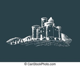Vector old castle illustration. Gothic fortress. Hand drawn sketch of landscape with tower among rural fields and hills.