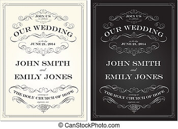 Vector Old Fashioned Wedding Frame Set