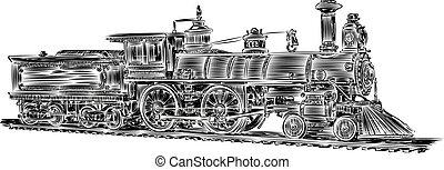 Vector-Old locomotive - Illustration Old locomotive