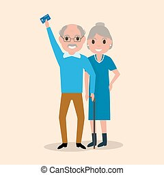 Vector old man holding an electronic card payments - Vector...
