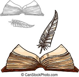 Vector old notepad book and ink feather quill pen
