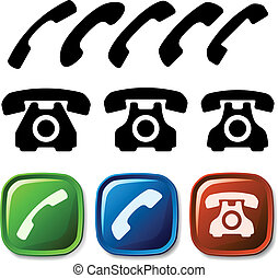 vector old phone icons