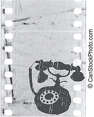 vector old phone on film