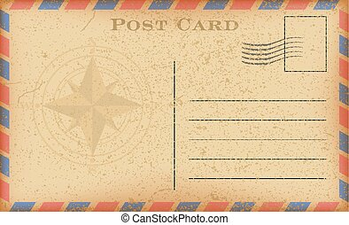Vector old postcard with compass. Grunge paper vintage postcard.