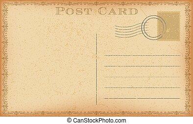 Vector old postcard with stamp. Grunge paper vintage post card.