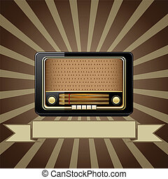 Vector old radio - Vector retro background with old radio