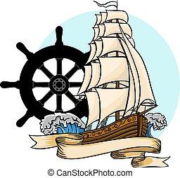 vector Old ship. Vector flat cartoon illustration