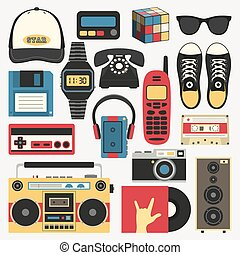 Vector old style equipments, accessories and things icons set. Old school collection in flat style. Design templates in EPS10.