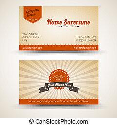 vector, old-style, retro, vendimia, tarjeta comercial