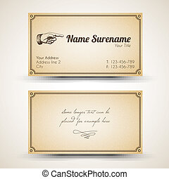 Vector old-style retro vintage business card - both front ...