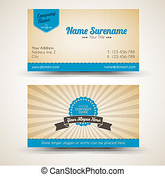 Vector old-style retro vintage business card - both front...