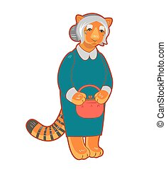 Vector old tigress character isolated on white