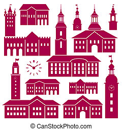 Set of vector old buildings elements for your design, scenes with old town hall and architectural details