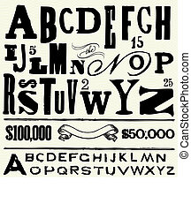 Vector Old Type and Alphabet - Vector letters and alphabet...