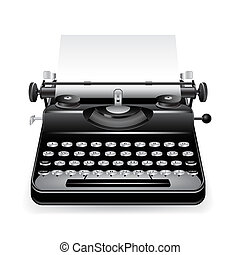Black old typewriter with a paper isolated on white