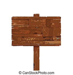 vector old weathered wooden sign isolated on white background