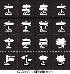Vector Old wood sign icon set