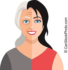 Vector old young woman
