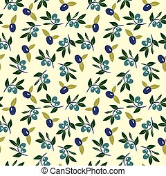 Vector Olive and branch seamless background. Retro olive ...